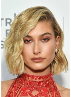 Hailey Baldwin Short Wavy Cut Human Hair Lace Front Wig 12 Inches
