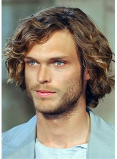 Natural Wavy Synthetic Hair Men's Capless Wig 14 Inches