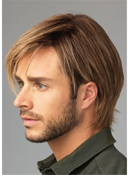 Natural Straight Synthetic Hair Men's Capless Wig