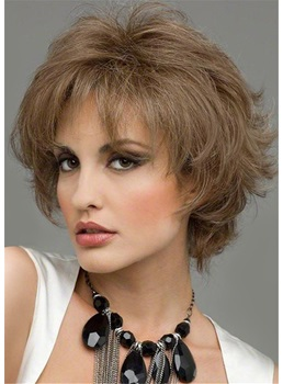 Short Length Wavy Human Hair Capless Wig 10 Inches