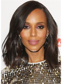 Kerry Washington Medium Subtly Wavy Cut Synthetic Hair Capless Wig