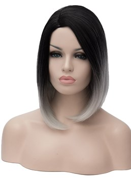 Mid-Length Tow Tone Synthetic Hair Straight Capless Wig