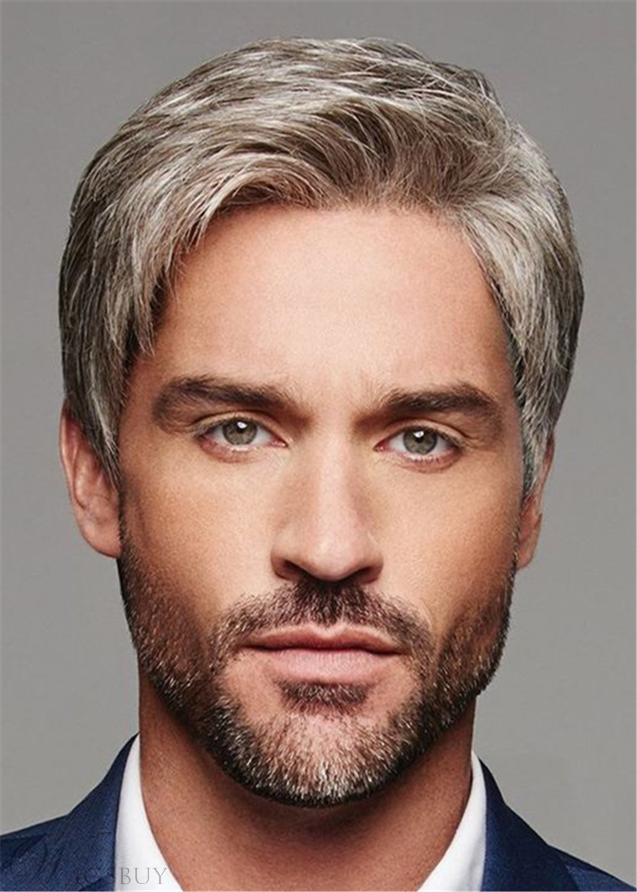 Short Cut Straight Synthetic Hair Men's Lace Front Wig