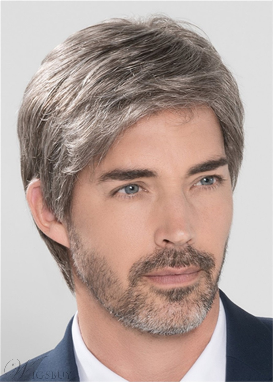 Side Part Short Straight Synthetic Hair Capless Men's Wig