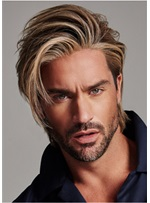 One Side Parted Synthetic Straight Hair Men's Capless Wig