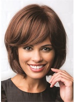 bob cut synthetische glatte Haare mit bang Lace Front Perücke