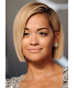 Short Bob Cut One Side Parted Human Hair Capless Wig