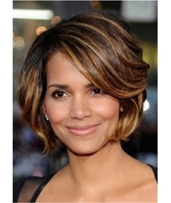 Short Bob Layering Cut Wavy Human Hair Capless Wig