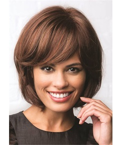 Bob Cut Synthetic Straight Hair With Bang Lace Front Wig