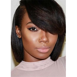 Bob One Side Parted Bangs Straight Hair Capless Afro Women Wig