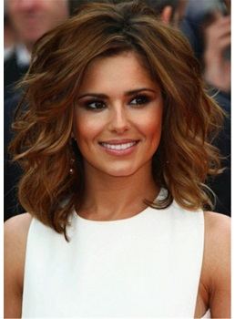 Cheryl Cole Hairstyle Flexibility Human Hair Wavy Shoulder Length Wigs