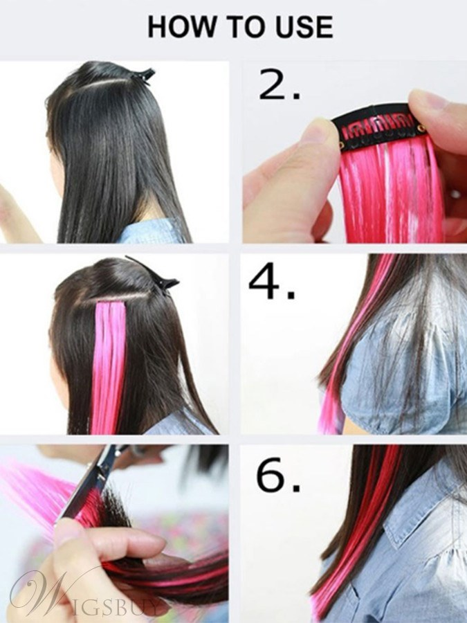 Colorful10 Pcs Clip In Hair Extensions Synthetic Hair Straight 22 Inches