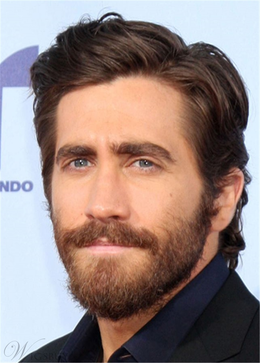 Jake Gyllenhaal Hair Cut Side Part Synthetic Straight Hair Lace Front Wig