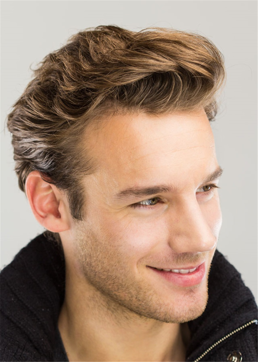 Wavy Brush Up Hairstyle Human Hair Full Lace Men's Wig