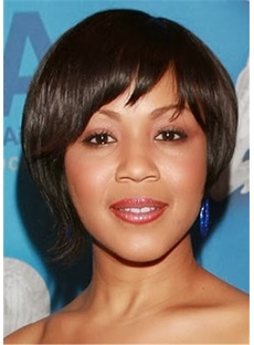Erica Campbell Short Hairstyle Straight Human Hair Capless Wig