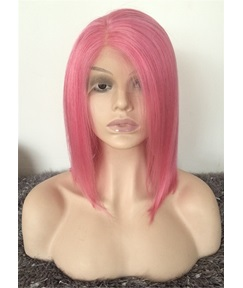 Mid Length Pink Color Straight Human Hair Lace Front Wig