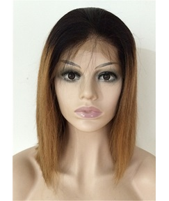 Natural Straight Human Hair Lace Front Wig 14 Inches