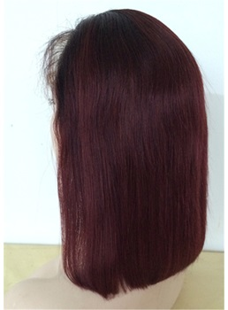 Mid Length Human Hair Straight Free Parted Lace Front Wig