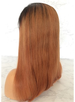 Long Ombre Straight Human Hair Lace Front Wig 20 Inches