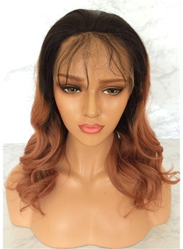 Long Wavy Ombre Human Hair Lace Front Wig 20 Inches
