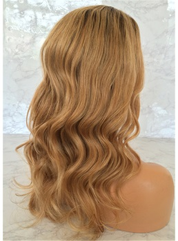 Long Wavy Human Hair Pale Gold Lace Front Wig 22 Inches