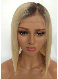 Mid Length Human Hair Straight Lace Front Wig