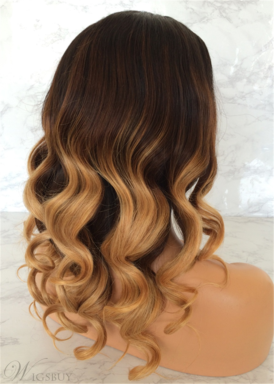 Ombre Human Hair Wavy Long Lace Front Wig