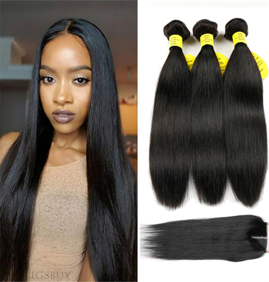 Wigsbuy Human Hair Weave With Closure Natural Straight