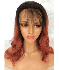 Long Wavy Human Hair With Bangs Lace Front Wig 22 Inches