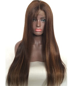 Long Dark Brown Straight Human Hair Lace Front Wig