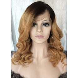 Long Wavy Human Hair Lace Front Wig 24 Inches