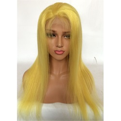 Long Yellow Human Hair Straight Women Lace Front Wig