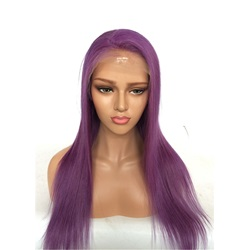 Long Straight Human Hair Lace Front Wig Purple Color 26 Inches