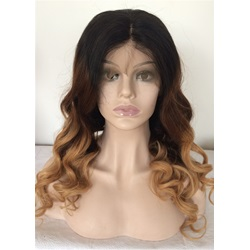 Long Wavy Ombre Hair Human Hair Lace Front Wig