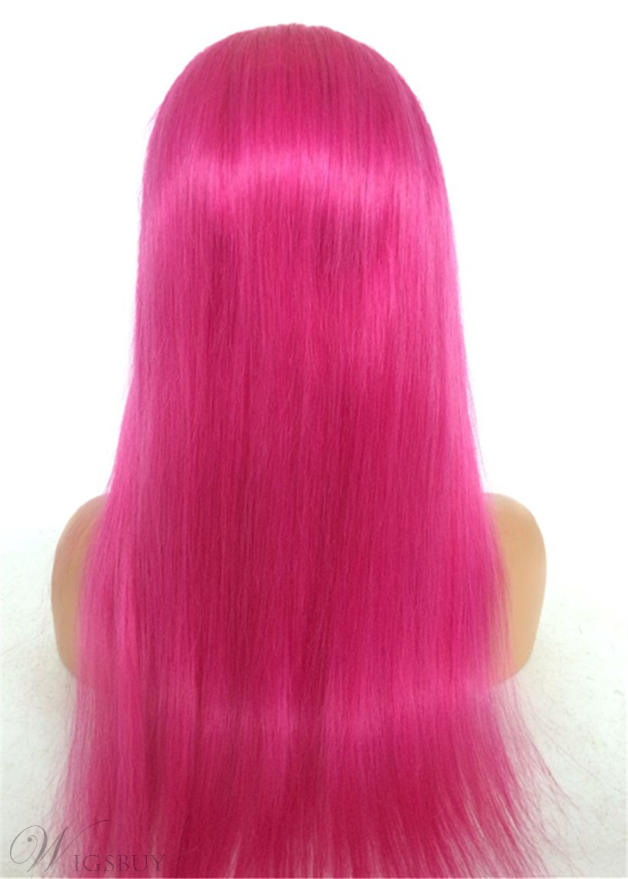 Long Straight Human Hair Rose Red Women Lace Front Wig