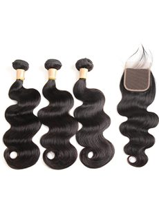 Wigsbuy 3 Bundles Brazilian Body Wave With Lace Closure