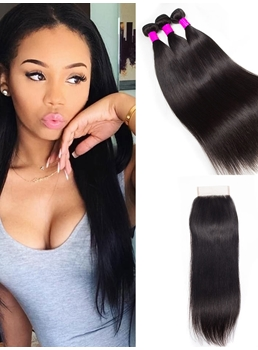 Wigsbuy 3 Bundles Brazilian Virgin Hair Straight With Closure