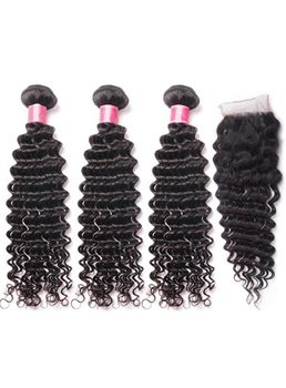 Wigsbuy 3 Bundles Virgin Deep Wave Human Hair With Lace Closure