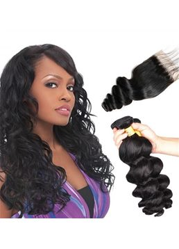 Wigsbuy Lace Closure With Indian Straight Hair 3 Bundles