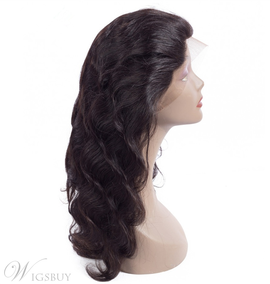 Wigsbuy Wavy Human Hair 360 Lace Frontal With Baby Hair Free Part Closure