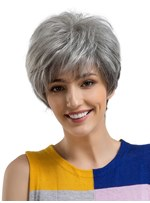 Boy Cut Granny Gray Human Hair Womenn Capless Wig 8 Inches