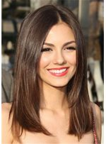 Victoria Justice Middle Parting Long Straight Human Hair Capless Wig 18 Inches