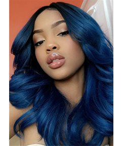 Wigsbuy Natural Straight 1B/Blue Color Human Hair Extensions 3PCS