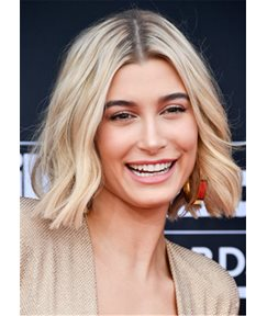 Hailey Baldwin Short Wavy Cut-Feathery Waves Human hair Capless Wig