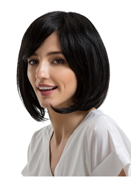 Short Bob Hairstyle Human Hair Women Capless Wig 12 Inches