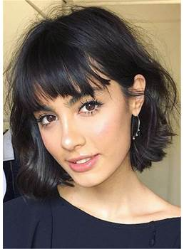 Bob Short Human Hair With Bangs Straight Capless Wigs 8 Inches