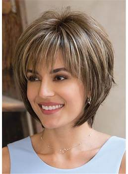 Layered Mixed Color Straight Synthetic Hair With Bangs Capless Cap Women Wigs