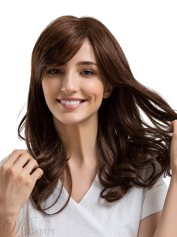 Loose Wavy Human Hair With Bang Women Capless Wig 22 Inches