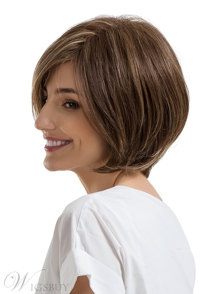 Bob Cut Mixed Color Human Hair Women Capless Wig 10 Inches