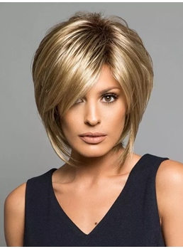 One Side Parted Layered Straight Capless Synthetic Women Wig